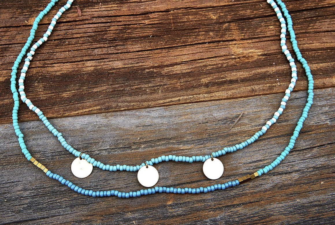 Seed Bead Double Strand Necklace