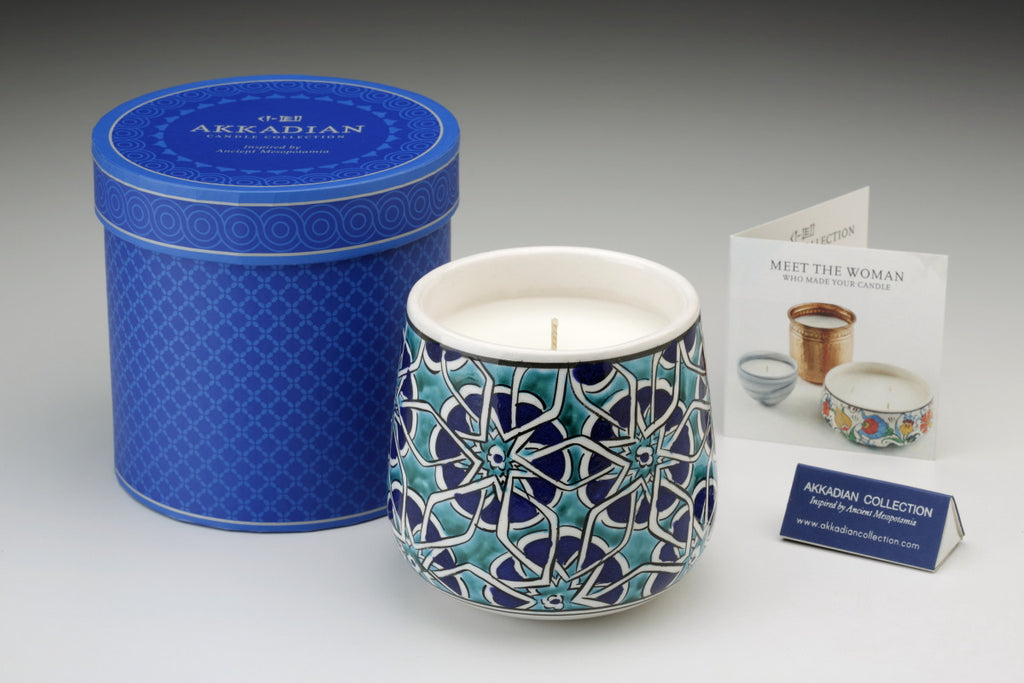 Blue Tessera Handpainted Candle