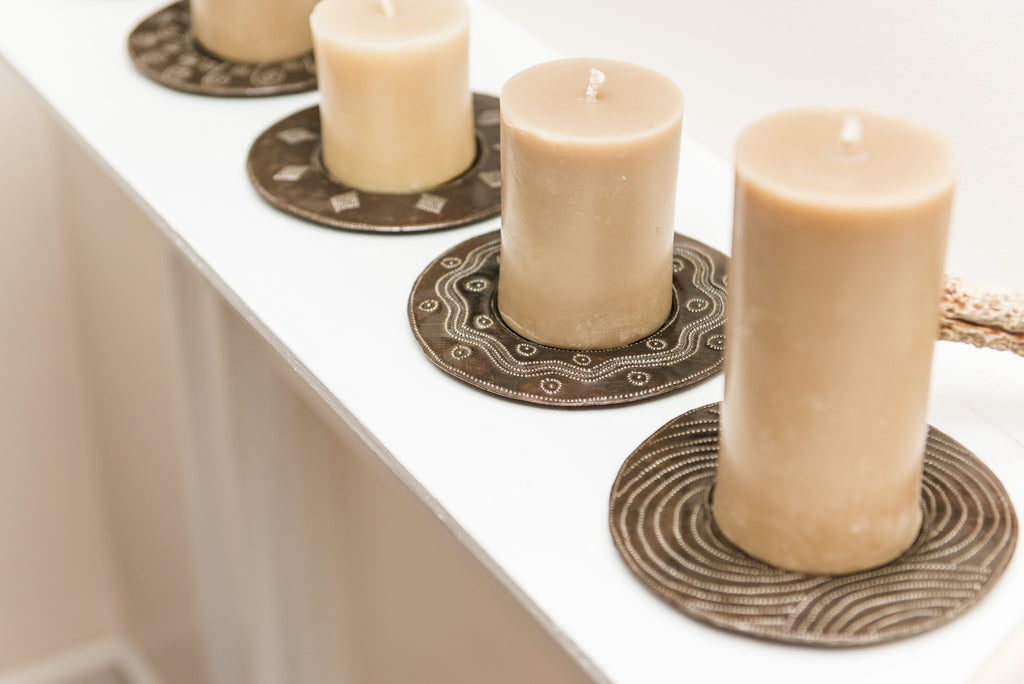 Metal Pillar Candle Plates
