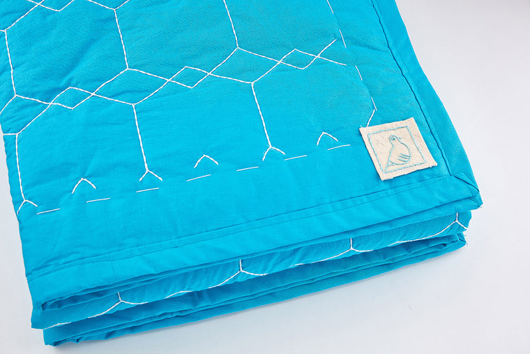 Turquoise Hexagon Stitch Quilt