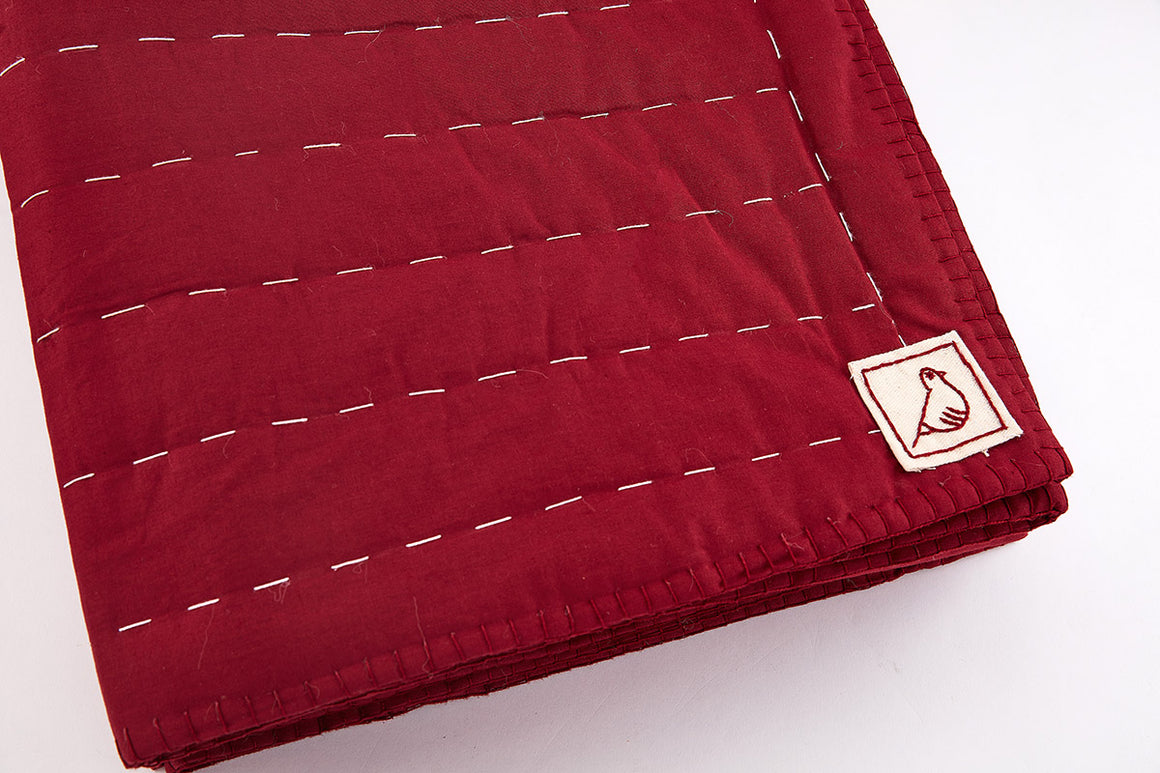 Burgundy Running Stitch Quilt