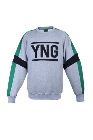 Grey and Green YNG Sweater