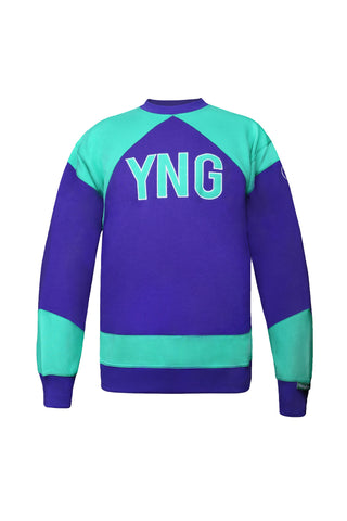 Retro YNG Sweater - Purple/Mint