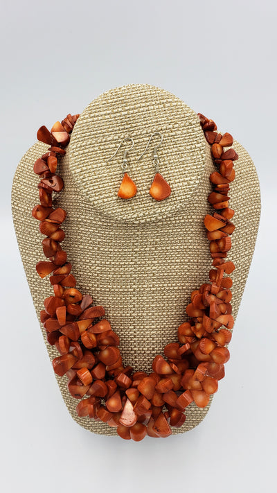 Chunky Coral Necklace and Earrings Set