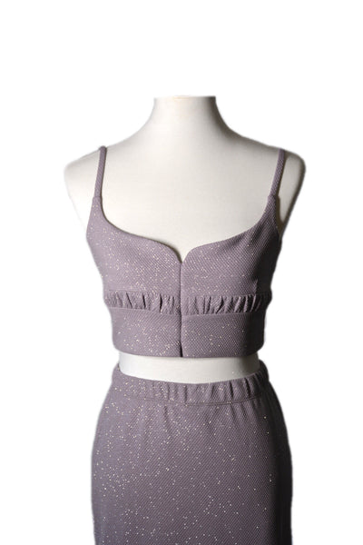 Amelia Lilac Cropped Top and Skirt Set
