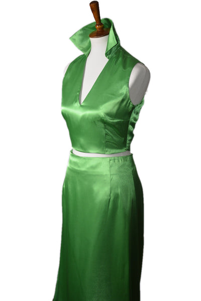 Zuri Green Satin Top and Skirt Set