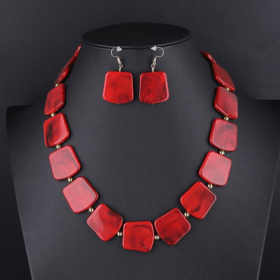 Square Resin Pendant Beads Jewelry Set For Women Chain Rope Statement Necklace Acrylic Geometric Earrings Jewelry Bijoux