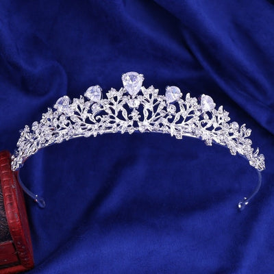 Rhinestone and Crystal Leaf Bridal Jewelry Sets with Crown Tiara Necklace and Earrings