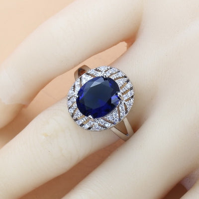 Bridal Costume 925 Sterling Silver With Natural CZ Blue Big Jewelry Sets Dangle Clip Earrings And Ring 6-Color Sets For Women Gift