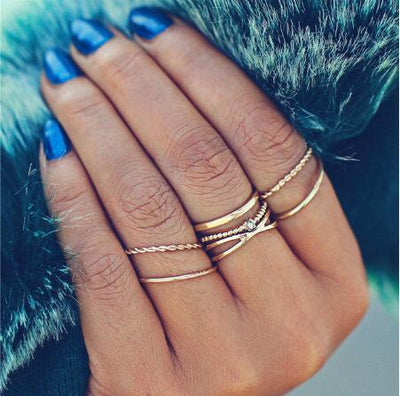 Crystal Gold Set For Women Knuckle Finger Ring Fashion Jewelry