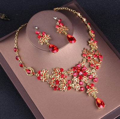 Gold and Red Crystal Jewelry Sets with Rhinestone and Tiara Crown Choker Necklace Earrings Set