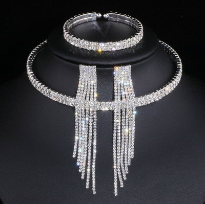 Classic Elegant Silver Color Tassel Crystal Bridal Jewelry Sets African Rhinestone Wedding Necklace Earrings Bracelet Sets WX081