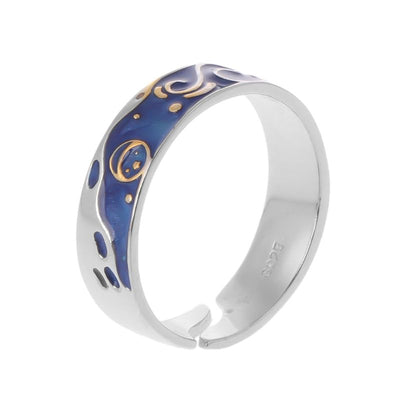 Silver Van Gogh Starry Sky Open Lover Band Romantic Rings