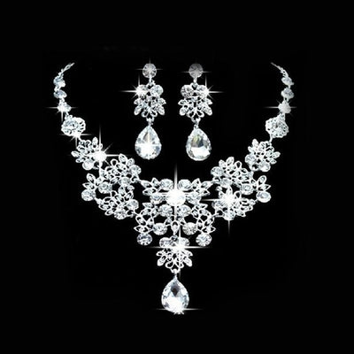 Wedding Bridal Formal Party Prom Jewelry Crystal Rhinestone Necklace Earring Set