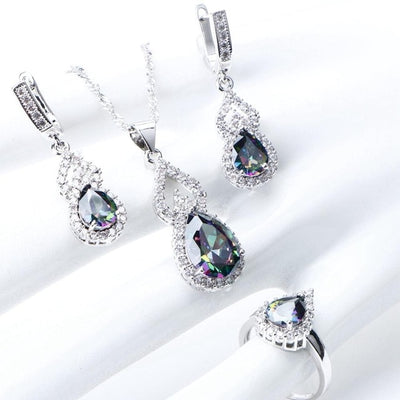 Natural Rainbow Jewelry Sets 925 Sterling Silver Stones Wedding Earrings For Women Stones Bracelet Necklace Rings Set Gifts Box