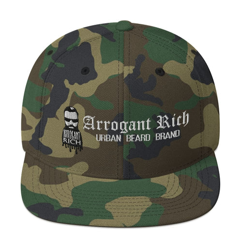 Snap back Hat - Assorted Designs - Green Camo - Arrogant
