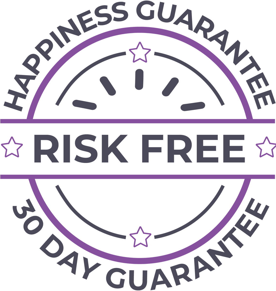30 day risk-free happiness guarantee seal