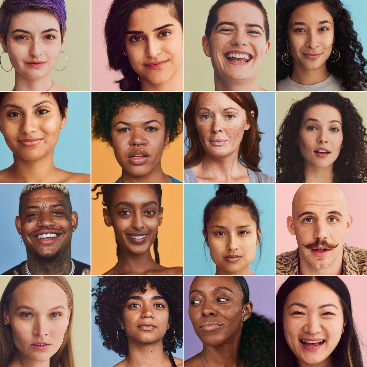 Diverse set of 16 portraits of Skinsei customers in a grid, showing a variety of skin types.