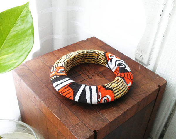 Orange + Tan Kwacha Bangle