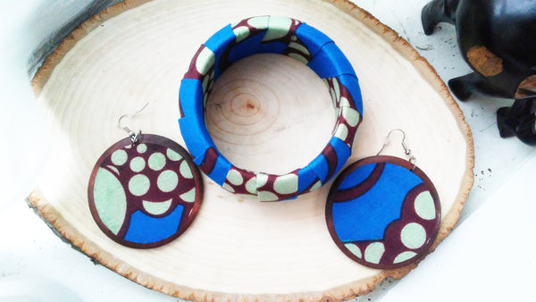 Brown + Blue Round Kwacha Earrings