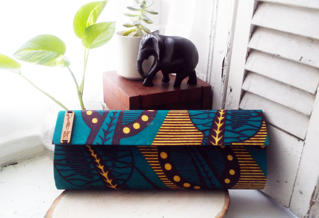 Teal + Brown Clutch (Kwacha Collection)