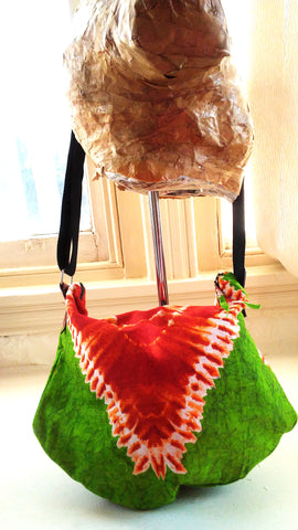 Green + Orange Tie-Dye Hobo Bag (Kwacha Collection)