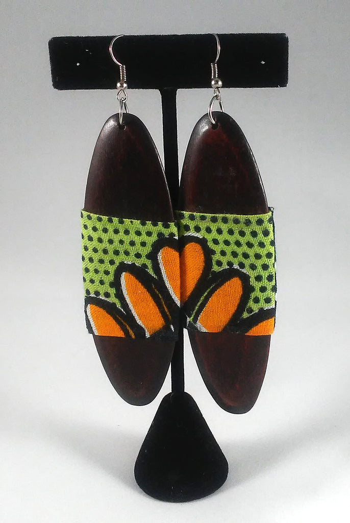 Green + Orange Oval Kwacha Earrings