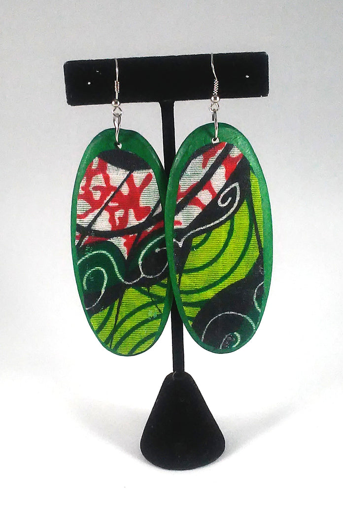 Green + Red Oval Kwacha Earrings