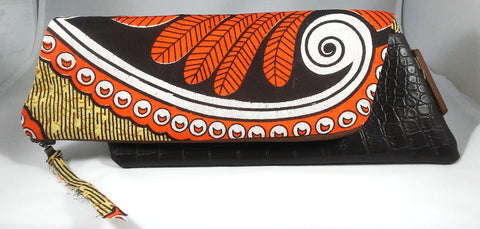 Orange + Tan Kwacha Clutch