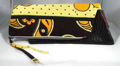 Yellow + Brown Kwacha Clutch