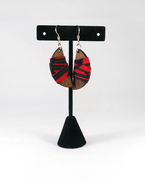 Red + Black Semi-Circle Wala Earrings