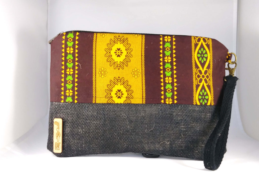 Brown + Yellow Wala Clutch [Black]