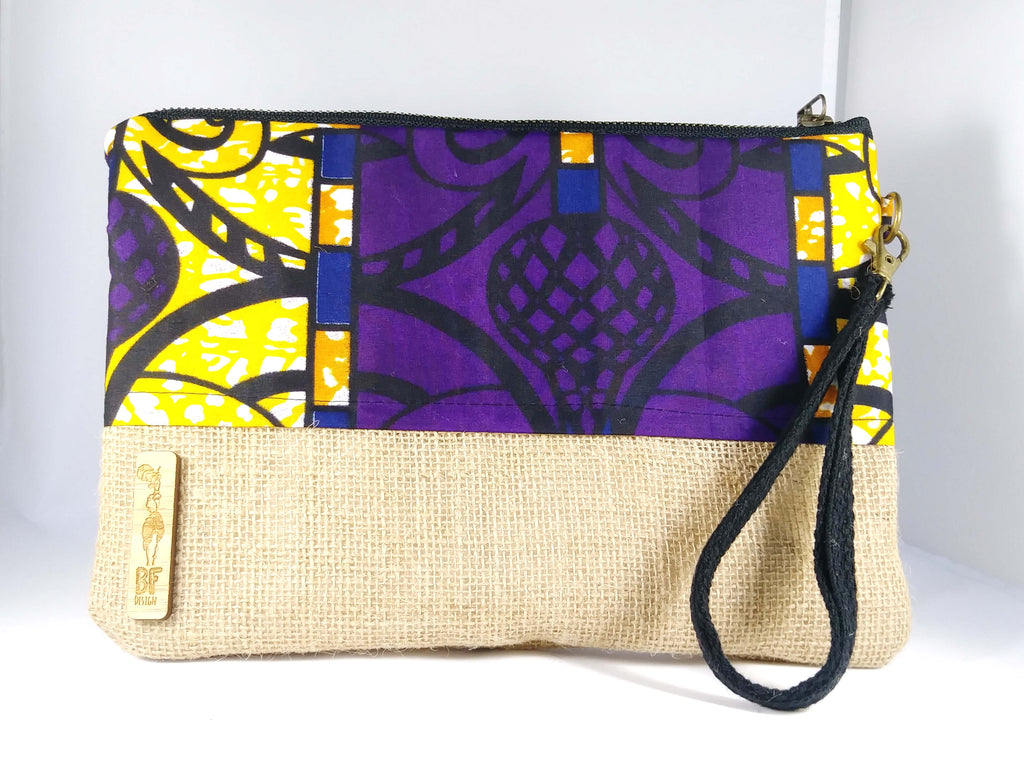 Purple + Yellow Wala Clutch [Brown]