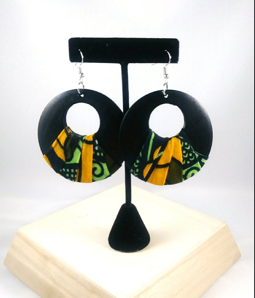 Green + Black Round Kwacha Earrings