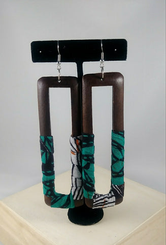 Teal Rectangle Kwacha Earrings