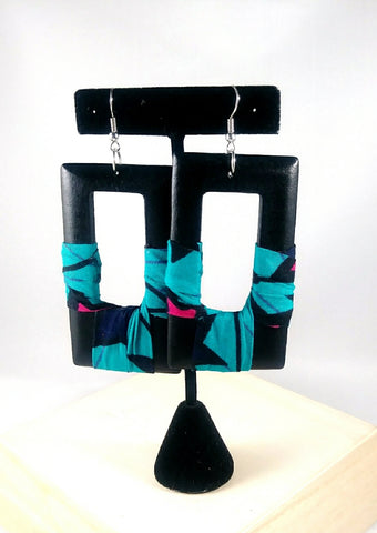 Blue + Pink Square Kwacha Earrings