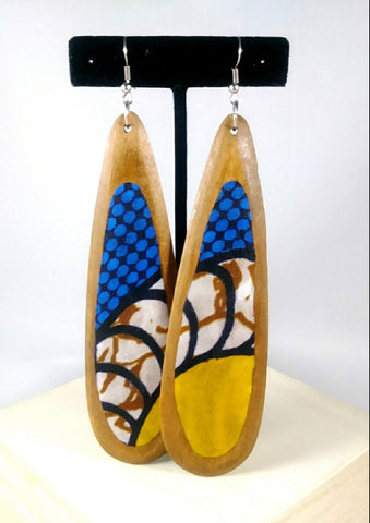 Blue + Yellow Tear Shaped Kwacha Earrings