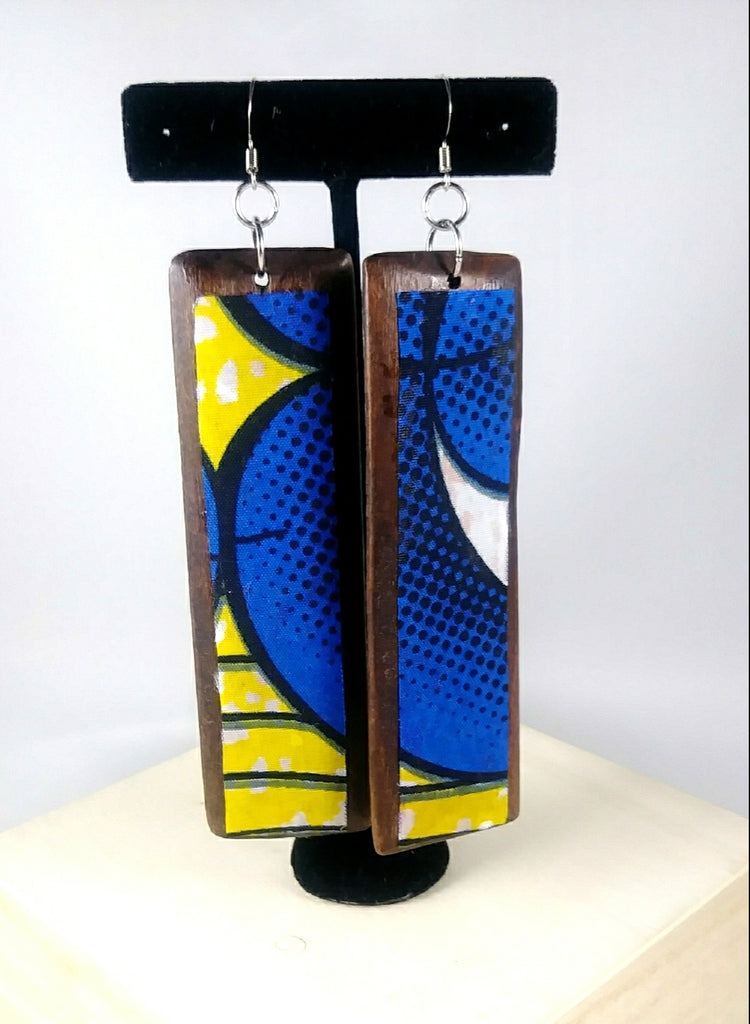 Blue + Yellow Rectangle Kwacha Earrings
