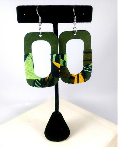 Green + Orange Square Wala Earrings