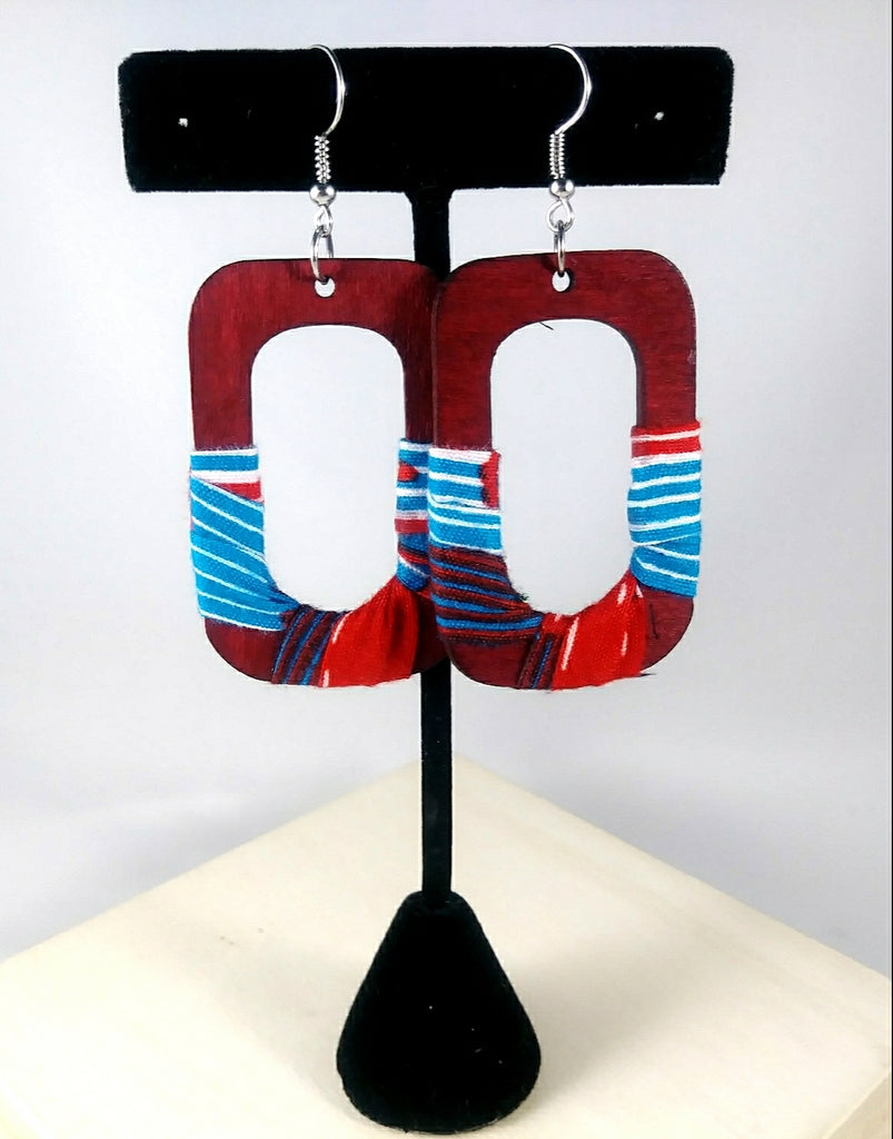 Blue + Red Square Wala Earrings