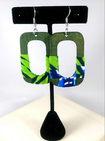 Green + Blue Square Wala Earrings