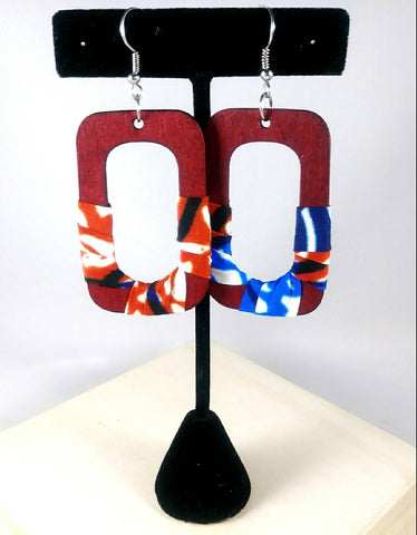 Red + Blue Square Wala Earrings