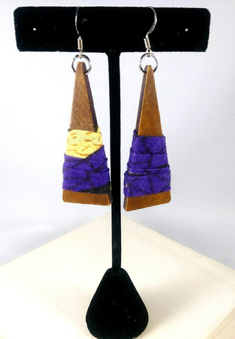 Purple + Yellow Triangle Wala Earrings