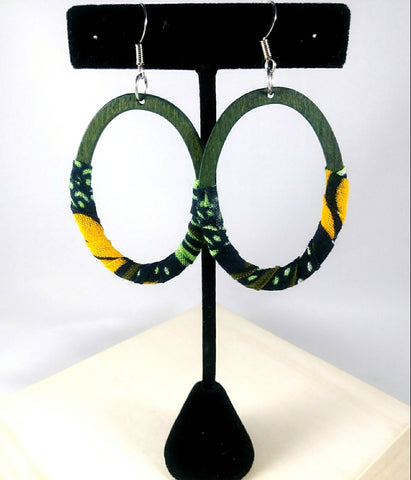 Green + Orange Oval Wala Earrings