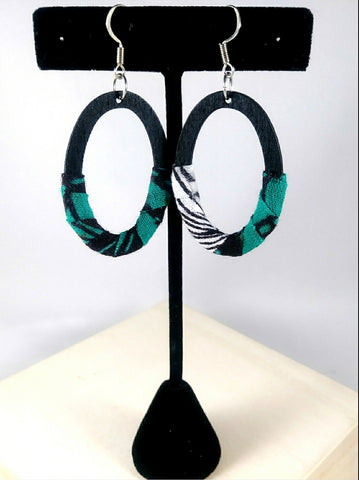Teal Oval Wala Earrings