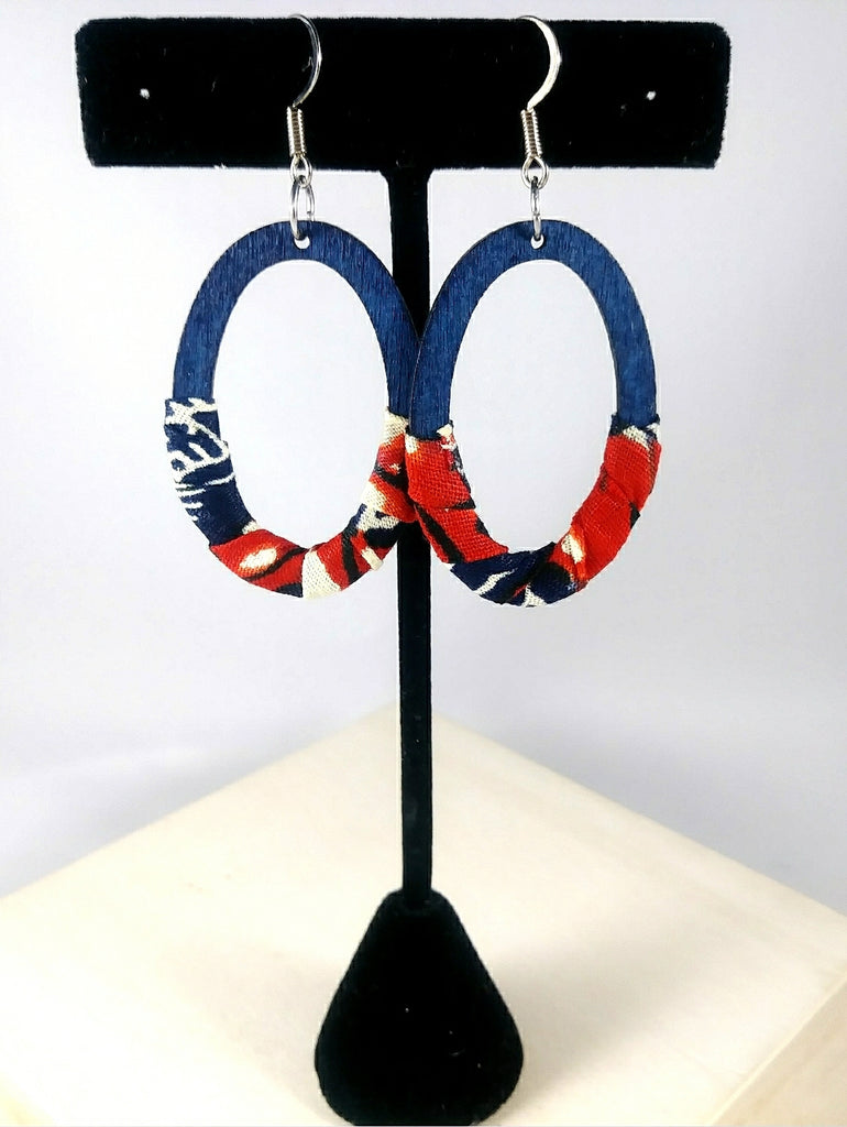 Blue + Red Oval Wala Earrings