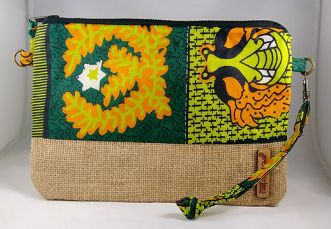 Green + Orange Wala Clutch [Brown]