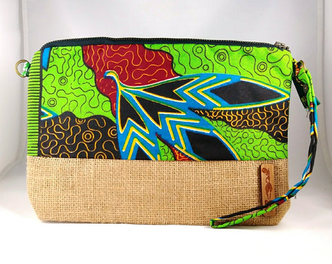 Green + Blue Wala Clutch [Brown]