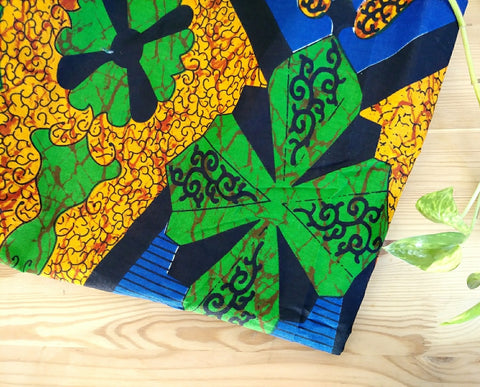 Green + Orange Kwacha Head Wrap