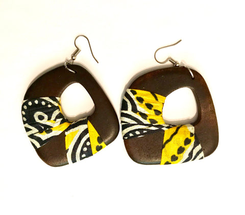 Yellow + Black Asymmetrical Kwacha Earrings